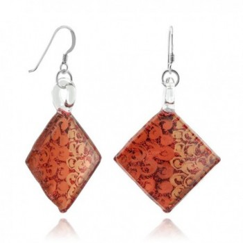 925 Sterling Silver Hand Painted Murano Glass Red Orange Swirls Square Dangle Hook Earrings - C411WFH1LPB