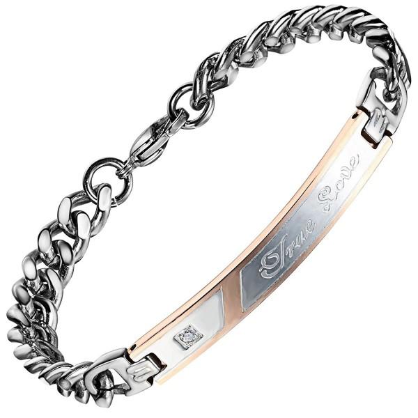 Flongo Matching Stainless Engagement Bracelets - Bronze- For Womens - CV11RLEBBS5