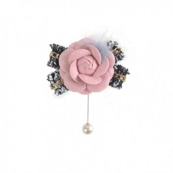 Zarapack Women's Designer Luxury Handmade Tweed Camellia with Mink Fur Bow Pearl Flower Pin brooch Gift box pack - CU17YY570WX