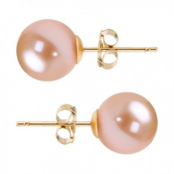 Freshwater Cultured Pearl Earrings Stud AAAA 6-10mm Pink Cultured Pearls Earring 14K White Gold Posts - CO12F7D5NML