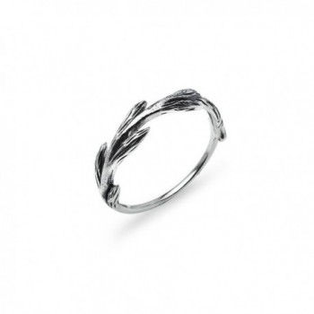 Plain Wreath Branch Wrap Ring - Sterling Silver Round Comfort Fit Promise Band Sizes 5 to 12 - CE17AZUYL7U
