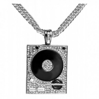 Xusamss Hip Hop DJ Stainless Steel Crystal Phonograph Tag Pendant Necklace With Chain - White - CE182OTHAD3