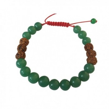 Tibetan Mala Green Jade and Rudraksha Wrist Mala Yoga Bracelet for Meditation - CY127J449AR