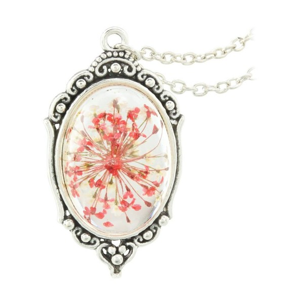 FM42 Vintage Style Dried Flowers Encased in Simulated Resin Oval Pendant Necklace - Red - CL124T8AFD1