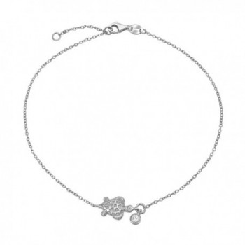 Bling Jewelry 925 Silver Bezel Set CZ Charm Nautical Turtle Anklet 9in - CV11EE6AK0H