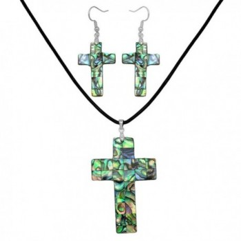 Falari Green Abalone Shell Necklace Earring Set Black Leather Cord - Cross - CP185RTHZAO
