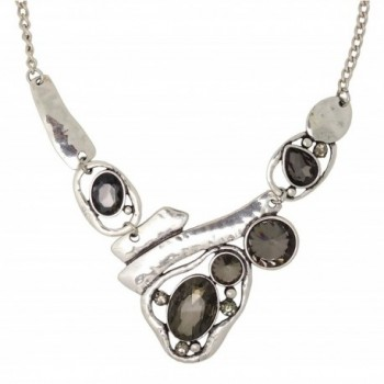 Jaysa Collection Designer Freeform Silver Necklace with Dark Rhinestones - CW128NH91OT