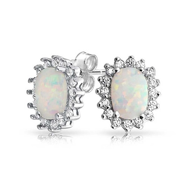 Bling Jewelry Simulated Opal Stud Oval Crown earrings 925 Sterling Silver 12mm - CM11EIQFZMH