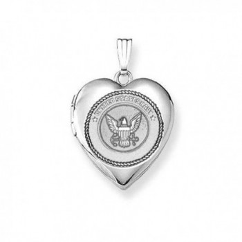 Sterling Silver Navy Heart Locket 3/4 Inch X 3/4 Inch - CC11ETL94UZ