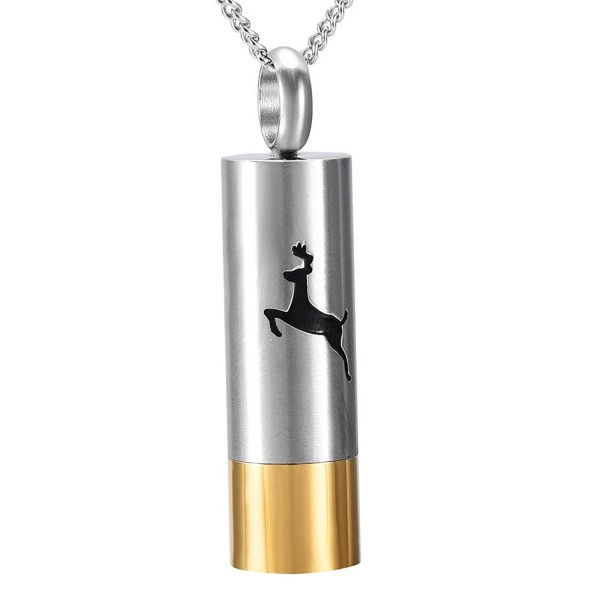 Deer Engraved Cylinder Stainless Steel Cemation Urn Necklace Ashes Keepsake Memorial Gift - silver and gold - CD187LKA927