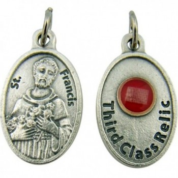 Silver Tone Catholic Saint Medal with 3rd Class Relic- 1 Inch - C711C5HT3GF