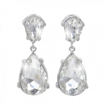 EVER FAITH Bridal Silver-Tone Teardrop Dangle Earrings Clear Austrian Crystal - CW11DSBXE4J