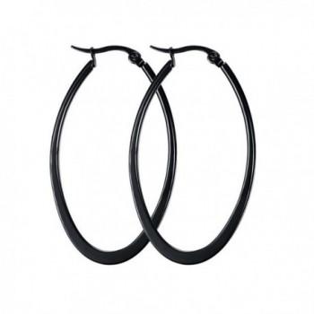 DIB Fashion Jewelry Stainless Steel Teardrop U Shaped Hoop Earrings Women 47MM Black - CX12K8OSIN5