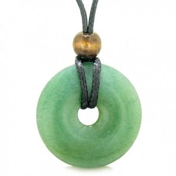 Amulet Magic Large Coin Shaped Donut Positive Powers Green Quartz Healing Lucky Charm Necklace - CQ11XD2PVFD