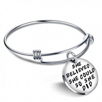 Women Girl Jewelry Inspirational Bracelet She Believed She Could so She Did Expandable Bangle Gift Silver - C912I2BGPJF