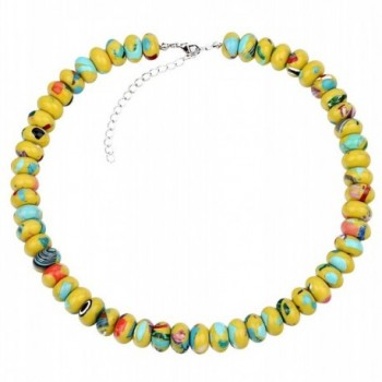 Eye-Catching Synthetic Turquoise Rondelle Beaded Necklace - Yellow - CE127F76BKF