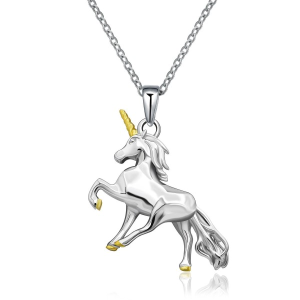 MONBO Silver Unicorn Necklace Gift 925 Sterling Silver Fairytale Unicorn Pendant Necklace For Women- Girls - CW185A4M0S4