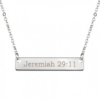 Silver Christian Bar Necklace Bible Verse Necklace Faith Necklace Sister Necklace Baptism Gift Birthday - C81845MNG23