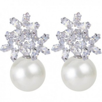 EVER FAITH Women's Zircon Cream Simulated Pearl Elegant Flower Pierced Stud Earrings - Clear Silver-Tone - CC1224JSVKH
