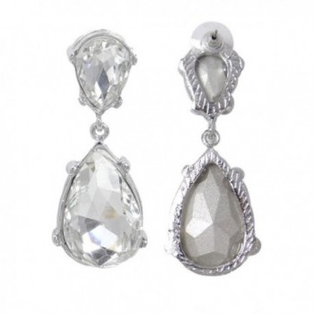 EVER FAITH Silver Tone Teardrop Earrings