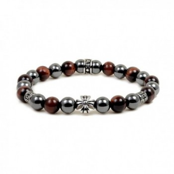 Magnetic Bracelet Red Tiger Eye Bead Maltese Cross Hematite Magnetic Therapy Bracelet by Accents Kingdom - CR12NYL43EE
