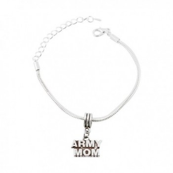 Army Mom Snake Chain Charm Bracelet - C012OCW939A
