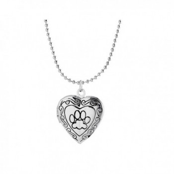 Ztuo Animal Dog Paw Print Photo Frame Heart Locket Necklace For Women Girls - Silver - CE1856C0L06