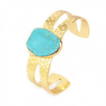 JAB 1 Pcs Gold Cuff Blue Howlite Turquoise Bangle Freeform Gemstone Women Bangle Jewelry G0210 - CA12574QC1B