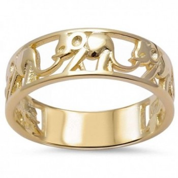 Yellow Gold Plated Elephant Band .925 Sterling Silver Ring Sizes 5-10 - C012ETBQJLL
