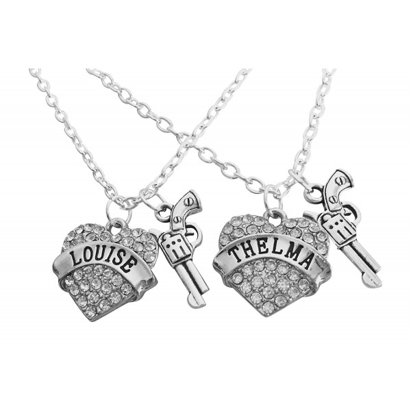Thelma and Louise Best Friend SET of 2 Bling Heart Necklaces by Thinbleful Threads - C312KMA3CYJ