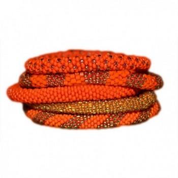 Elegant Orange and Gold Bead Handmade Bracelets Set- seed bead bracelet- roll on your wrist - C611FO4TO9R
