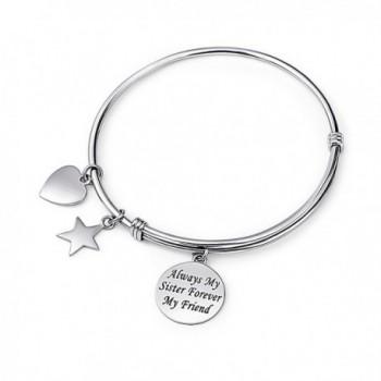 "925 Sterling Silver Always my Sister Forever my Friend Adjustable Bangle Bracelet- 7.5"" - CC12N2E79SI"