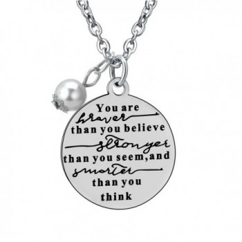 Stainless Steel You're Braver Stronger Smarter Inspirational Pendant Neckalce Gift for Women Men - CA12O1GNIRJ