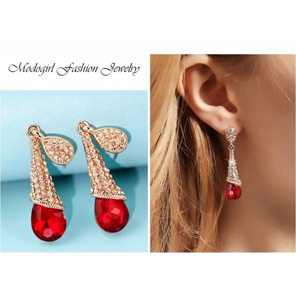 Vintage Austrian Crystal Tear Drop Dangle Clip on Earrings Screw Back Long Tassel Red for Girls Women - C811ZD33FD5
