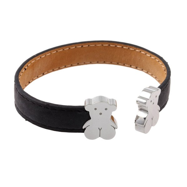 URs Leather Cuff Bracelet For Women with Teddy Bears and Adjustable Open Ends - C711WR6IXFV