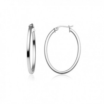 Sterling Silver 2mm Oval Square-Tube Hoop Earrings- Choose Size and Color - 30mm-Silver - C8187LW4WKG