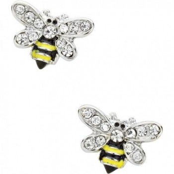 Liavys Bumble Bee Fashionable Earrings - Rhodium Plated - C117Y4AD90E