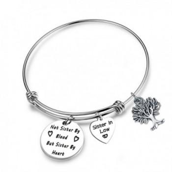 SEIRAA Best Friend Gift Sister In Law Bracelet Not Sister By Blood But Sister By Heart Bracelet Adjustable Bangle - C7186ZCDT25