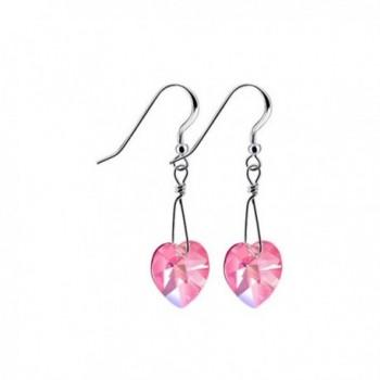 Gem Avenue 925 Sterling Silver Made With Swarovski Elements Heart Light Rose Crystal Handmade Drop Earrings - CZ112GU7S2H