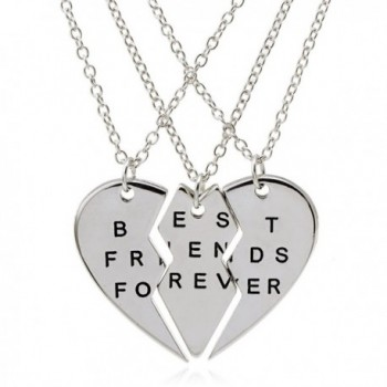 "ISHOW 3 Parts Broken Heart ""Best Friends Forever"" Bff Gift Best Friends Necklace for 3 (Silver- 3pcs/set) - CC12CAA6BT1"