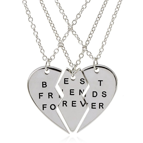 """ISHOW 3 Parts Broken Heart """"Best Friends Forever"""" Bff Gift Best Friends Necklace for 3 (Silver- 3pcs/set) - CC12CAA6BT1"""