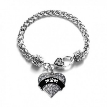 Pet Mom Paw Prints Pave Heart Bracelet Silver Plated Lobster Clasp Clear Crystal Charm - CH123HZH0MR