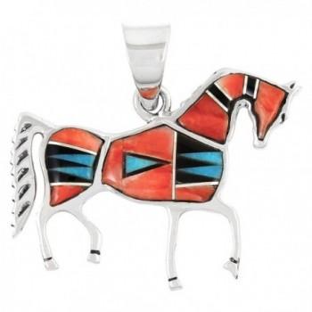 Horse Pendant 925 Sterling Silver Genuine Turquoise & Gemstones - Red & Black - CV12680ZK6V