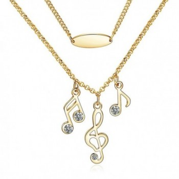 CONNIE.Y 14k Rose Gold Plated Lady Fashion Necklace Musical Note Design - Gold - CM17YSRA9H3