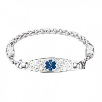 Divoti Custom Engraved Beautiful Olive Medical Alert Bracelet -Wheat Stainless -Deep Blue - CV12NFGAC8N
