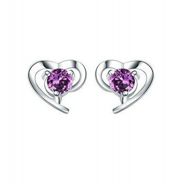 BEYLEG 925 Sterling Silver Heart-shaped Crystal Stud Earrings BE-45 - C011ZTNF947