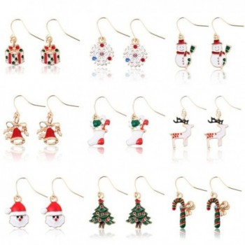 Miraculous Garden 9 Pairs Christmas Drop Dangle Earrings Jewelry Set for Thanksgiving (9 Pairs) - CH12NRG0F1Y