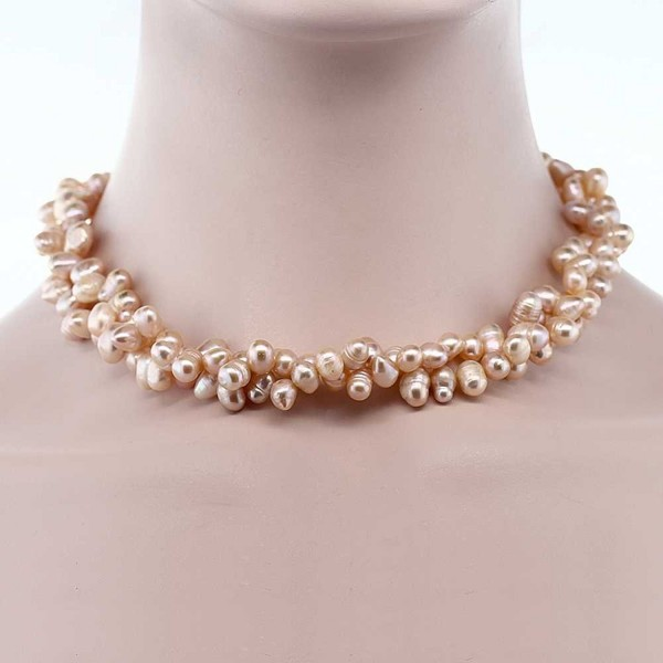"""Amazing 8mm Pink Double Twist Cultured Freshwater Pearl Necklace 18"""" - CI117L64AQR"""