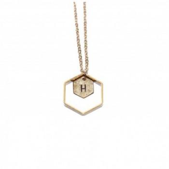 Freena Design Honeycomb Initial Necklace Engraved Golden Double Hexagon - CS12CKJ8L0V