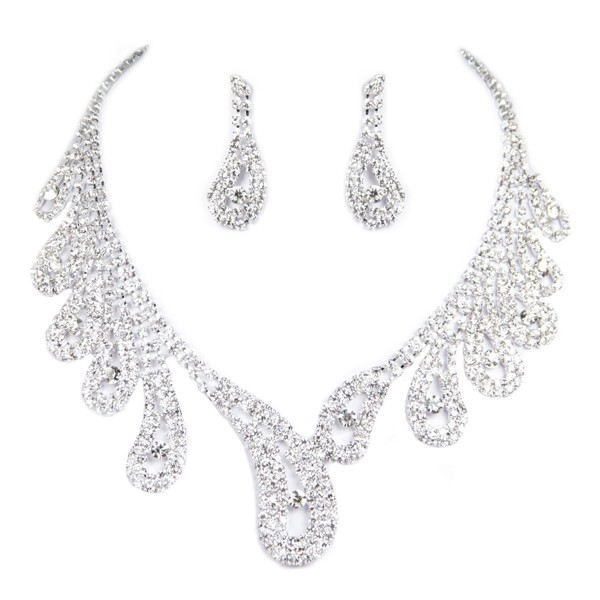 Clearbridal Girl Rhinestones Necklace Earrings Jewelry Sets for Evening Party 15042 - Silver-15042 - CV11X613TBJ